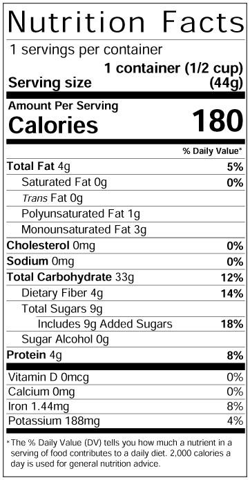 Rockin'Ola Cinnamon Cereal Bowl Nutrition Panel