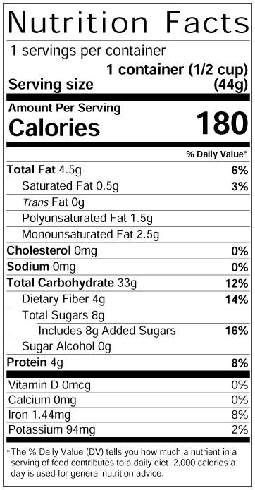Espresso Granola Cereal Bowl Nutrition Panel